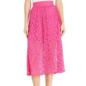 Women's Geometric Lace Overlay Long A-line Skirt